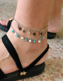 Fashion Silver Geometric Alloy Chain Rice Beads Round Multi-layered Anklet