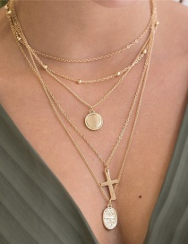 Fashion Gold Alloy Disc Cross Pendant Multilayer Necklace