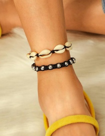 Fashion Black Braided Wire Rope Alloy Ball Shell Multi-layered Anklet