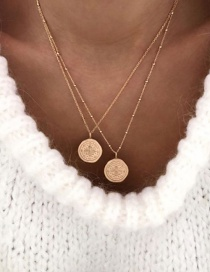 Fashion Gold Alloy Geometry Round Cross Multi-layer Necklace