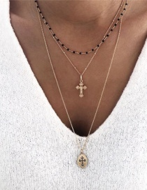 Fashion Gold Alloy Geometry Drops Cross Multilayer Necklace