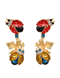 Fashion Color Alloy Studded Insect Leaf Stud Earrings