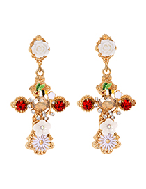 Fashion Gold Alloy Diamond Insect Cross Stud Earrings