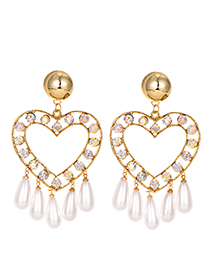 Fashion Gold Alloy Diamond Love Pearl Tassel Stud Earrings