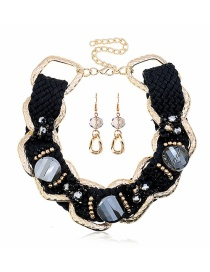 Fashion Black Woven Diamond Flower Necklace Earring Set