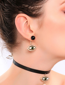 Fashion Devil's Eye Stud Earrings Drip Oil Eye Crystal Diamond Earrings