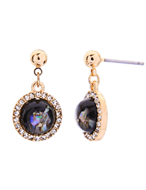 Fashion Gold Color Alloy Ring Diamond Ball Stud Earrings
