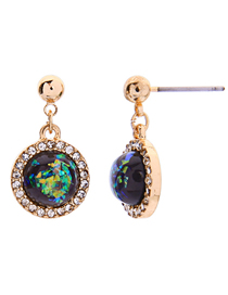Fashion Multi-color Alloy Ring Diamond Ball Stud Earrings