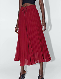 Fashion Red Pleated Wide-leg Pants