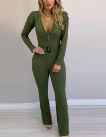 Fashion Green V-neck Puff Sleeve Jumpsuit