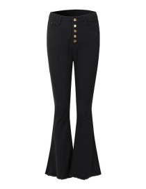 Fashion Black High-waist Single-breasted Flared Pants