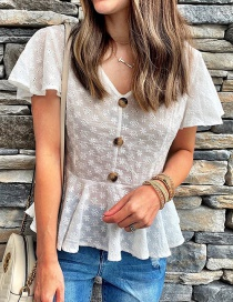 Fashion White V-neck Single-breasted Embroidered Ruffled Hem Shirt
