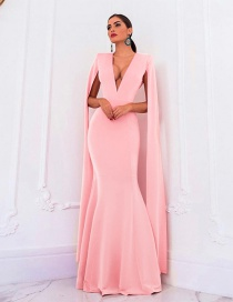 Fashion Pink Deep V-neck Halter Dress