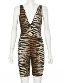 Fashion Tiger Pattern V-neck Halter One-piece Pants