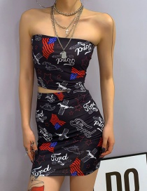 Fashion Black One-shouldered Chest Top Graffiti High Waist Skirt Suit