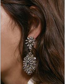 Fashion White Alloy Diamond Drop Shape Earrings