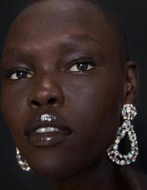 Fashion Ab Color Alloy Diamond Drop Shape Earrings