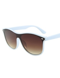 Fashion White Box Tea Slice C7 Siamese Lens Sunglasses