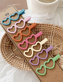 Fashion Double Love Section / 7 Color Set Frosted Geometric Hair Clip Combination