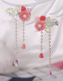 Fashion Pink Crystal Flower Clip