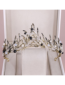 Fashion Bronze Alloy Crystal Pearl Crown
