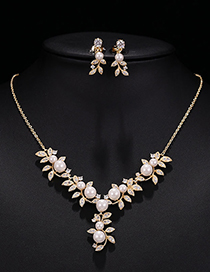 Fashion Gold Pearl Zircon Necklace Set