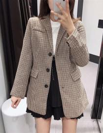Fashion Khaki Single-breasted Plaid Woolen Coat
