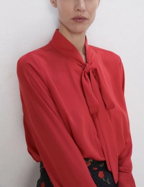 Fashion Red Bow Blouse