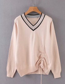 Fashion Light Orange Drawstring Sweater