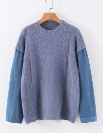 Fashion Blue Denim Stitching Sweater