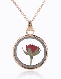 Fashion Golden + Rose Round Glass Rose Flower Necklace