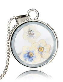 Fashion White Flower Transparent Round Glass Dried Flower Necklace