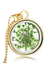 Fashion Golden + Green Heart Blooms Dried Flower Round Crystal Glass Necklace