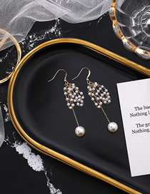 Fashion Pearl Size Pearl Beaded Tassel Earrings