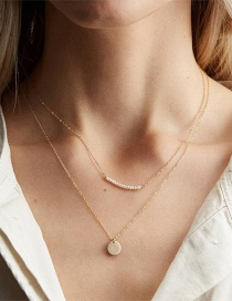 Fashion Gold Double Pearl Stainless Steel Necklace