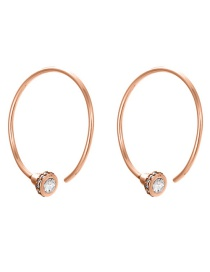 Fashion Rose Gold Stainless Steel Zircon C-shaped Earrings