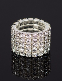 Fashion Silver Five Rows Of Diamond Rings