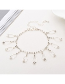 Fashion Silver Fringed Full Drill Anklet