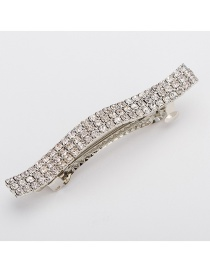 Fashion Silver Wavy Diamond Hair Clip