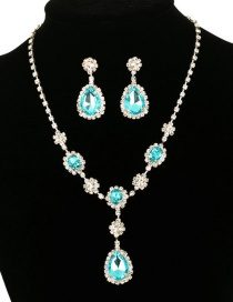 Fashion Blue Gemstone Stud Earring Necklace Set