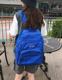 Fashion Blue Letter Printed Canvas Backpack