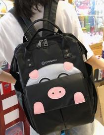 Fashion Black Cartoon Pig Backpack