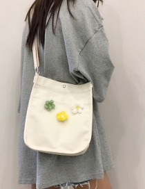 Fashion White Double-sided Small Flower Shoulder Slung Canvas Bag
