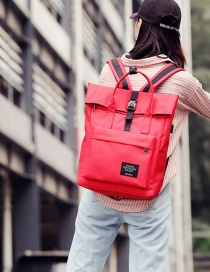 Fashion Red Ribbon Buckle Backpack