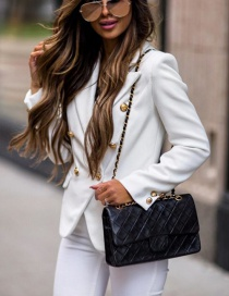 Fashion Creamy-white Thick V-neck Double-breasted Small Suit