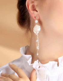 Fashion Asymmetric Shell Pearl Earrings