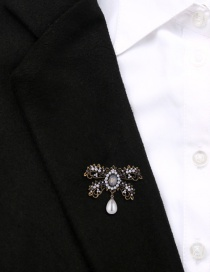 Fashion Gujin Alloy Openwork Bow With Diamond Pearl Brooch