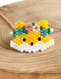 Fashion Color Rice Beads Weave Cartoon Fox Necklace