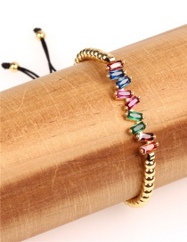 Fashion Color Copper Plated Beads Micro Zircon Crystal Braided Bracelet