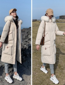 Fashion Beige Hooded Large Fur Collar Over The Knee Cotton Down Coat